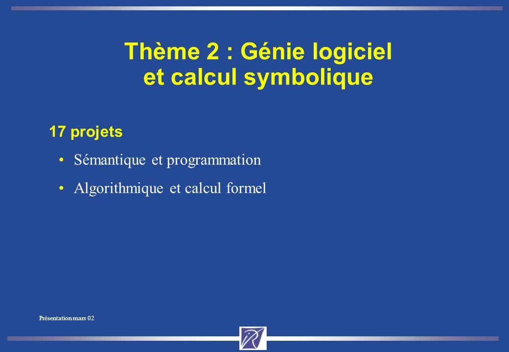 Présentation mars 02 Thème 1 : Réseaux et systèmes 23 projets Parallélisme et architecture Réseaux, systèmes, évaluation de performances Programmation distribuée et temps-réel