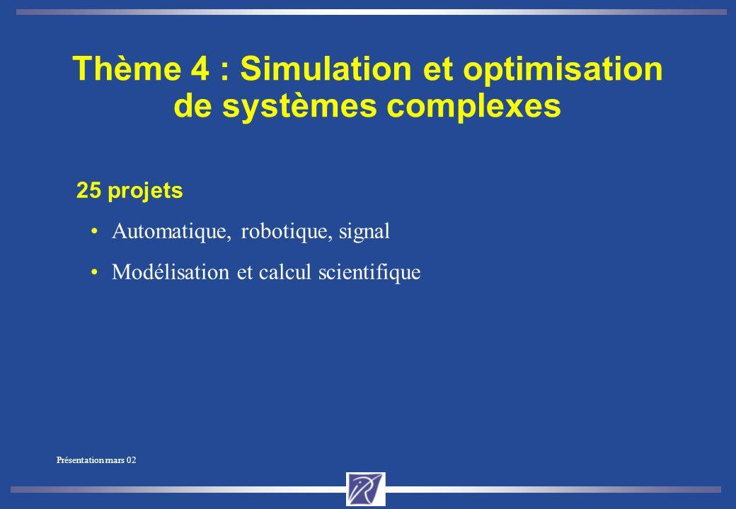 Présentation mars 02 Thème 3 : Interaction homme-machine, images, données, connaissances 30 projets Bases de données, bases de connaissances, systèmes cognitifs Vision, analyse et synthèse d images