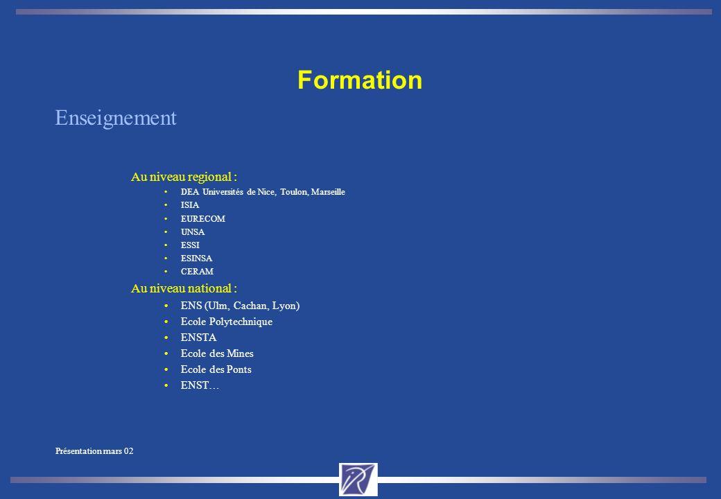 Présentation mars 02 Formation par la recherche à l unité de recherche 1 96 doctorants et étudiants en DEA Formation complémentaire: cours à l ESSI, l ISIA et séminaires thématiques, Externats en entreprises Activités en ingénierie système Equipement et moyens informatiques de pointe