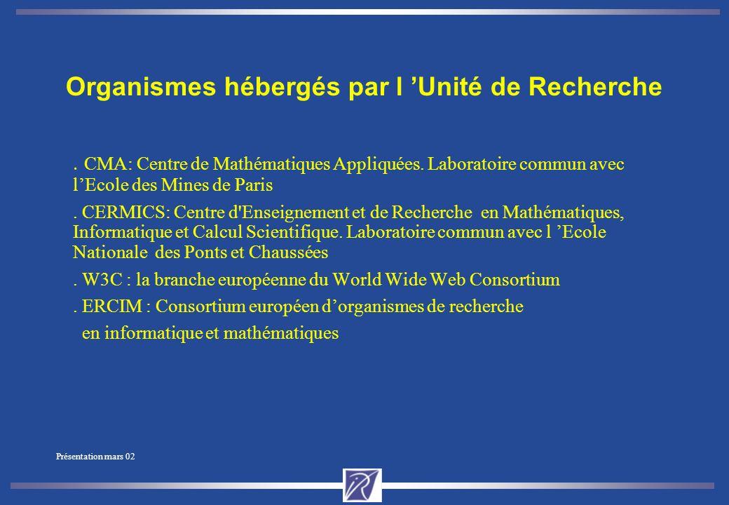 Présentation mars 02 INRIA et la Région Partenariats Institutionels -R3T2, médiathèque (IRIS) Participation aux structures professionnelles : - Telecom Valley, PERSAN, Club HiTech, Pôle Santé, ImeT, MITSA, Méditerranée-Technologie… Partenariats scientifiques : Projets communs avec: -Ecole des Mines (CMA - Centre de Mathématiques Appliquées) -UNSA (Université de Nice) et CNRS -Ecole des Ponts et Chaussées (CERMICS) -Université de Provence Collaborations avec : -Laboratoires de l UNSA -Institut Eurecom -Universités de Marseille, Provence and Méditerranée, -OCA, -Observatoire Océanographique de Villefranche (Paris VI) Ifremer, IMT etc.