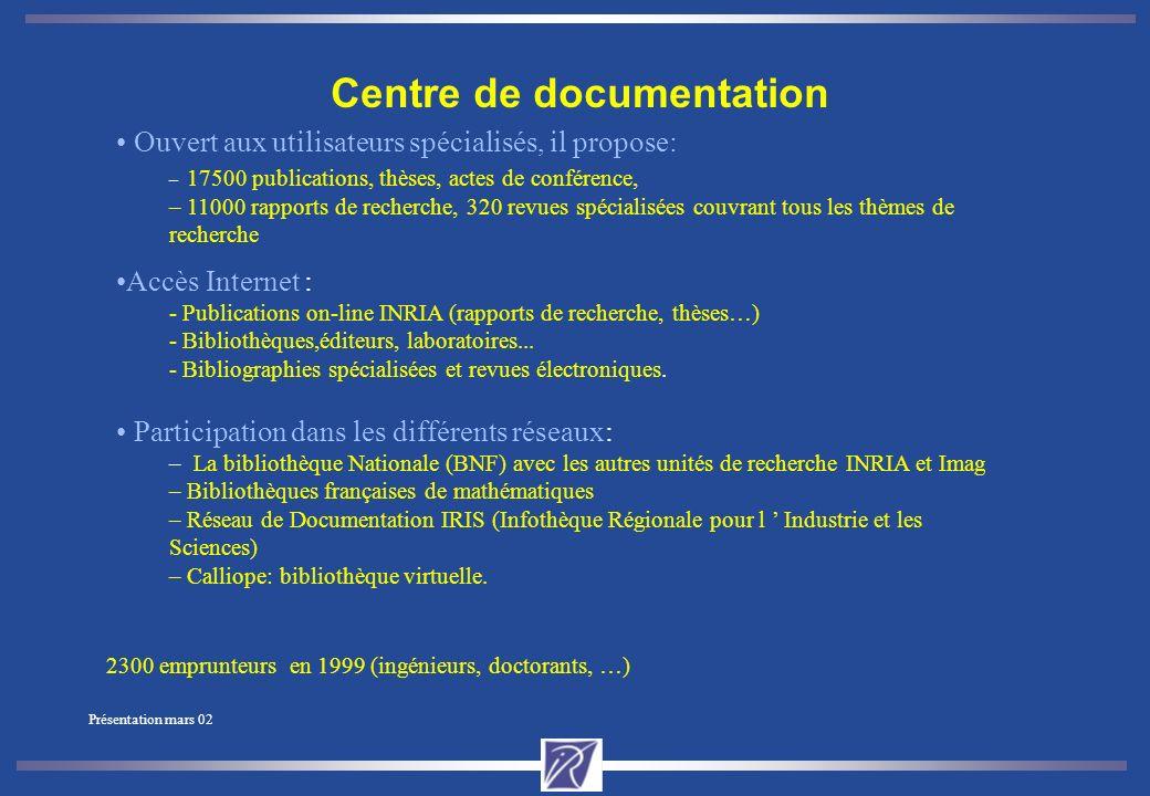 Présentation mars 02 Organismes hébergés par l Unité de Recherche.