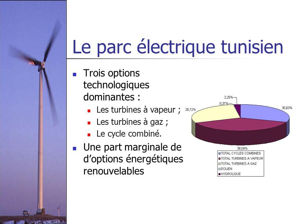Le parc électrique tunisien Trois options technologiques dominantes : Les turbines à vapeur ; Les turbines à gaz ; Le cycle combiné. Une part marginal