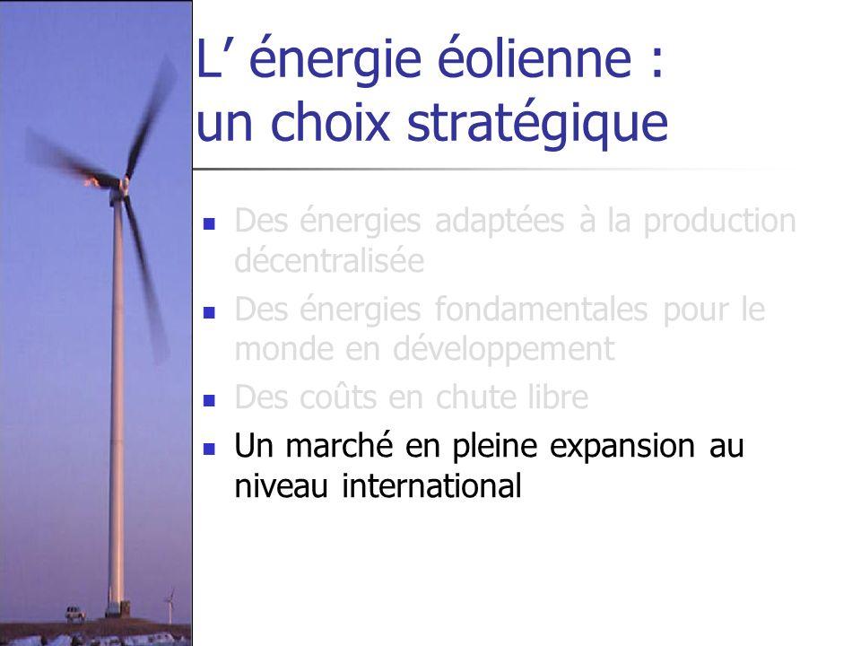 L énergie éolienne : un choix stratégique Des énergies adaptées à la production décentralisée Des énergies fondamentales pour le monde en développemen