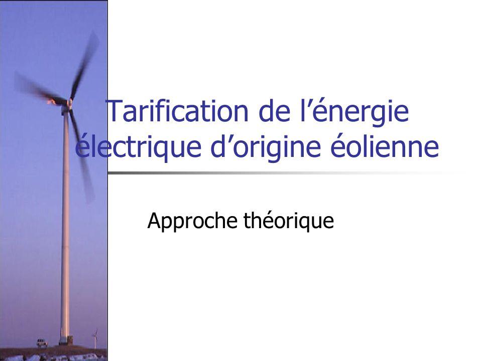Tarification de lénergie électrique dorigine éolienne Approche théorique
