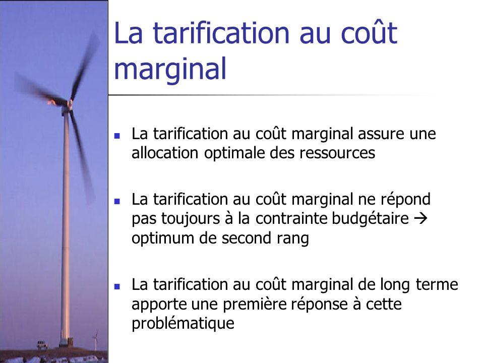 La tarification au coût marginal La tarification au coût marginal assure une allocation optimale des ressources La tarification au coût marginal ne ré