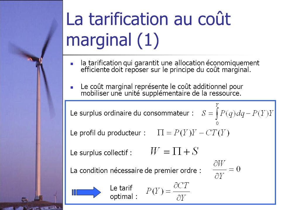 La tarification au coût marginal (1) la tarification qui garantit une allocation économiquement efficiente doit reposer sur le principe du coût margin