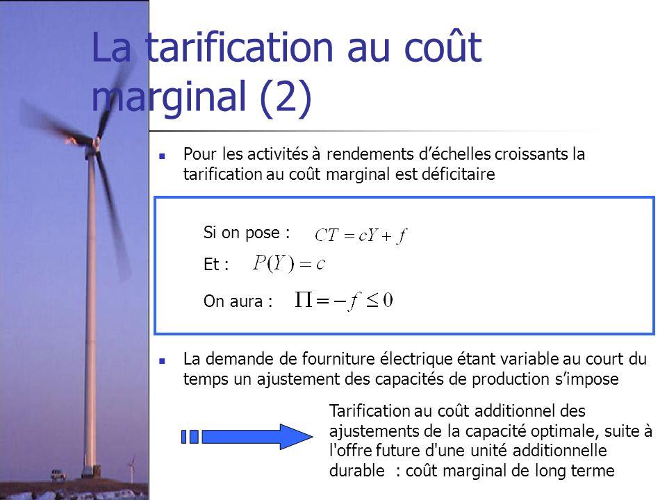 La tarification au coût marginal (2) Pour les activités à rendements déchelles croissants la tarification au coût marginal est déficitaire Si on pose