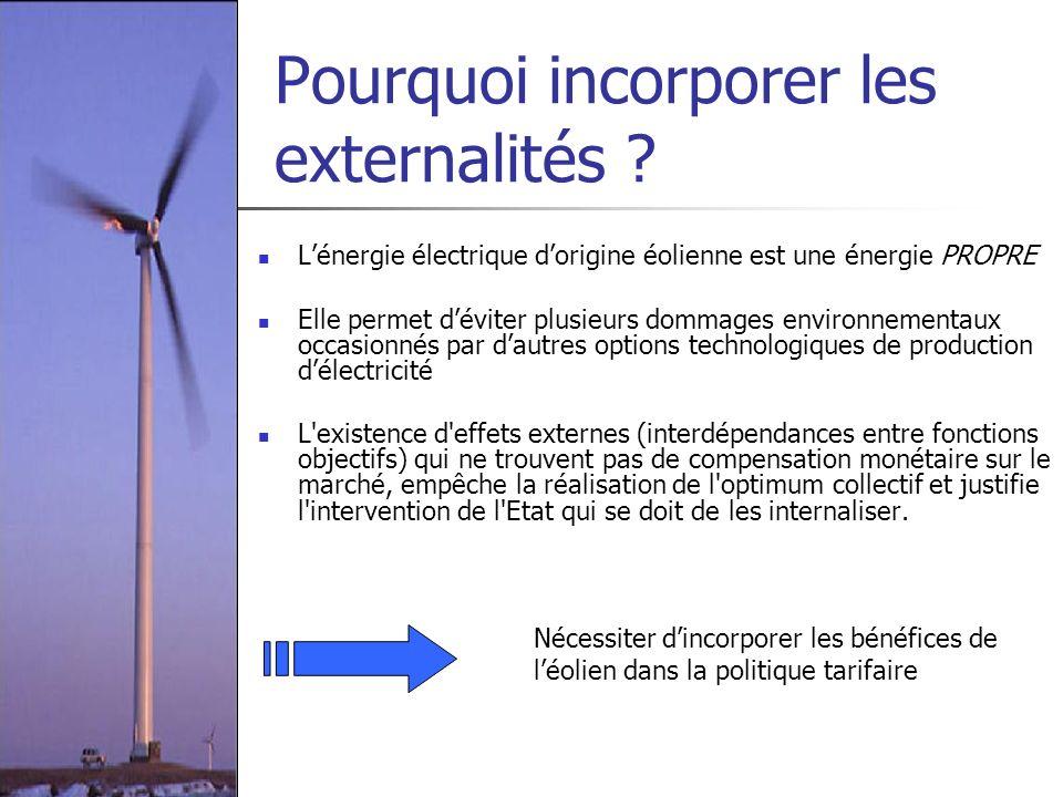 Pourquoi incorporer les externalités ? Lénergie électrique dorigine éolienne est une énergie PROPRE Elle permet déviter plusieurs dommages environneme