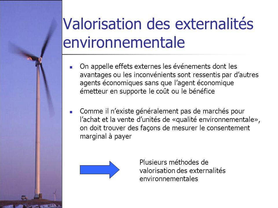 Valorisation des externalités environnementale On appelle effets externes les événements dont les avantages ou les inconvénients sont ressentis par da