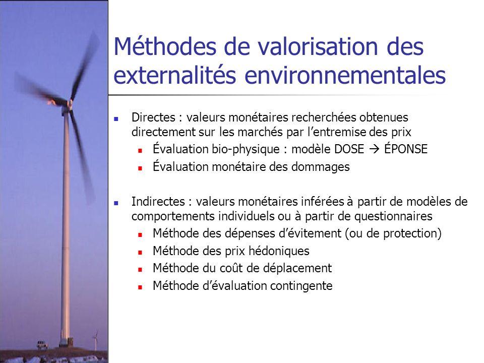 Méthodes de valorisation des externalités environnementales Directes : valeurs monétaires recherchées obtenues directement sur les marchés par lentrem