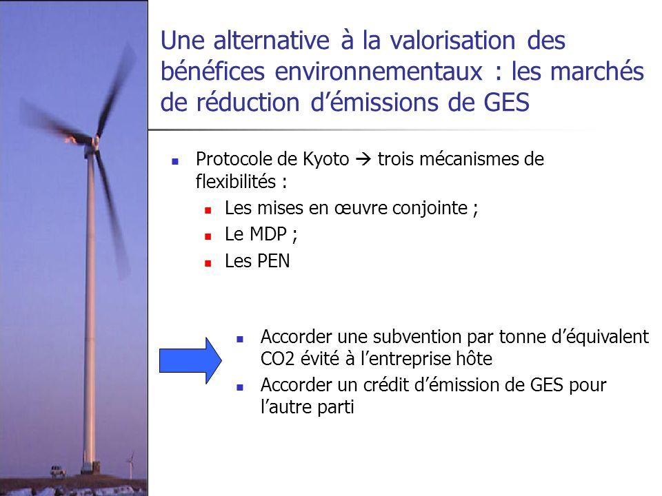 Une alternative à la valorisation des bénéfices environnementaux : les marchés de réduction démissions de GES Protocole de Kyoto trois mécanismes de f