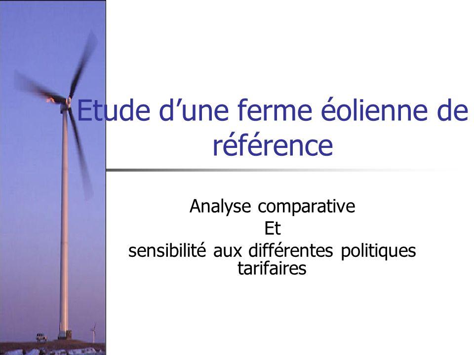 Etude dune ferme éolienne de référence Analyse comparative Et sensibilité aux différentes politiques tarifaires