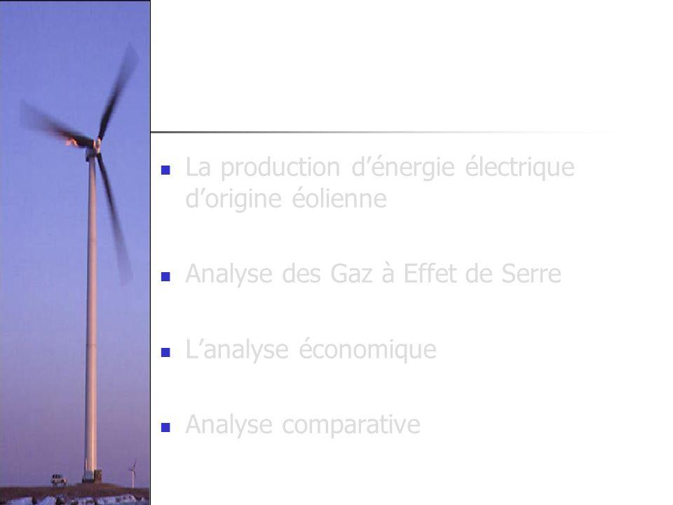 La production dénergie électrique dorigine éolienne Analyse des Gaz à Effet de Serre Lanalyse économique Analyse comparative