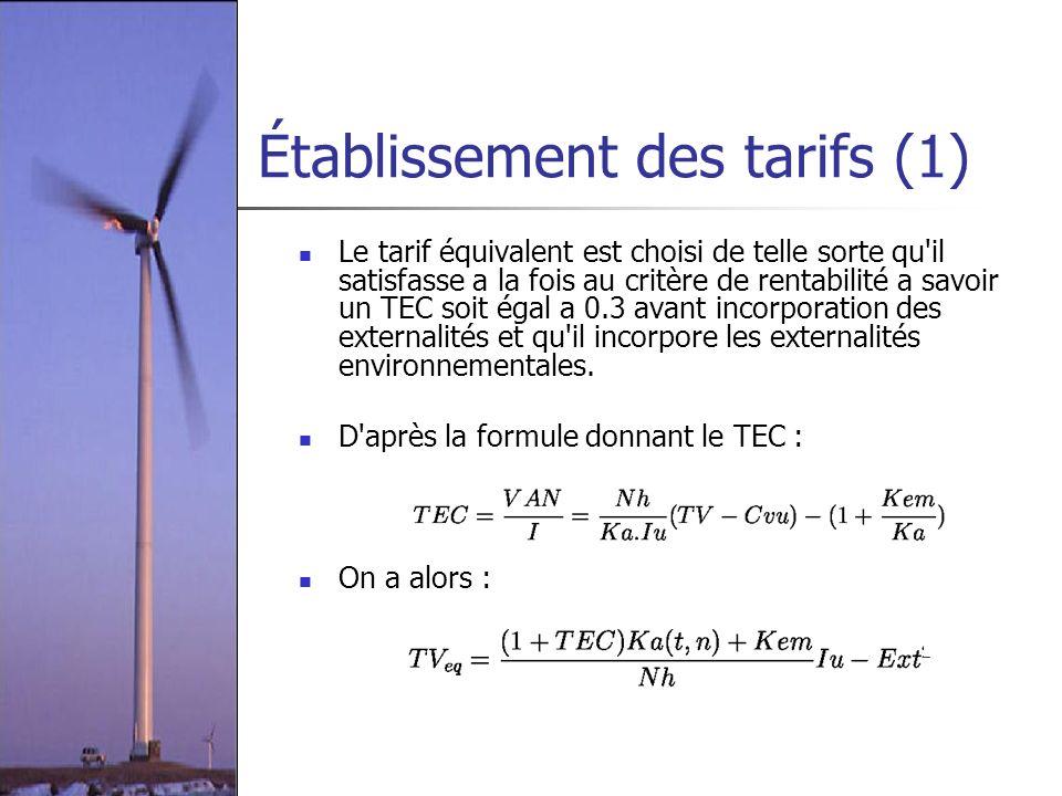 Établissement des tarifs (1) Le tarif équivalent est choisi de telle sorte qu'il satisfasse a la fois au critère de rentabilité a savoir un TEC soit é
