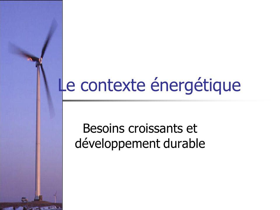Dans le monde Une consommation énergétique multipliée par 50 en deux siècles Une population multiplié par 6 sur la même période problèmes de sécurité dans un environnement où les sources seront de plus en plus concentrées géographiquement Lessor de lélectricité