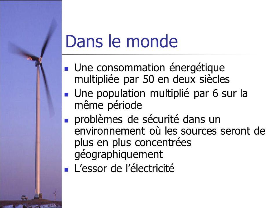 Dans le monde Une consommation énergétique multipliée par 50 en deux siècles Une population multiplié par 6 sur la même période problèmes de sécurité
