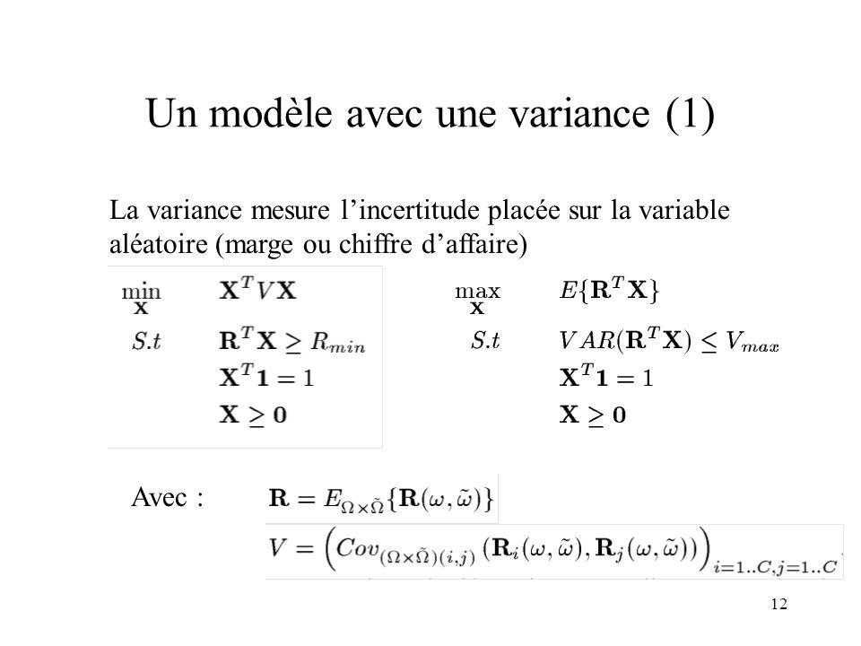 12 Un modèle avec une variance (1) La variance mesure lincertitude placée sur la variable aléatoire (marge ou chiffre daffaire) Avec :