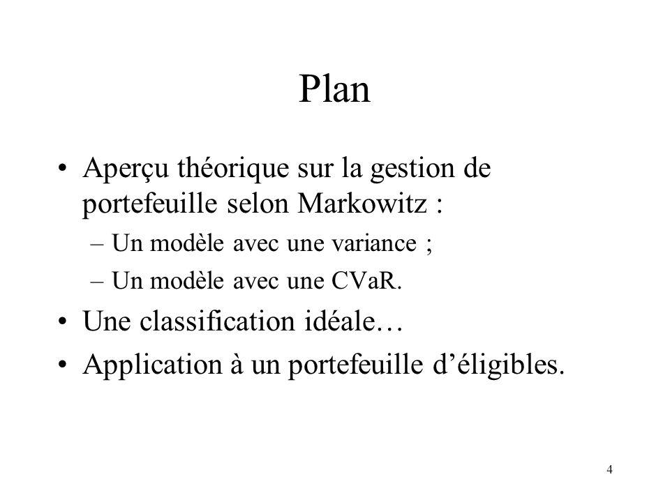 4 Plan Aperçu théorique sur la gestion de portefeuille selon Markowitz : –Un modèle avec une variance ; –Un modèle avec une CVaR. Une classification i