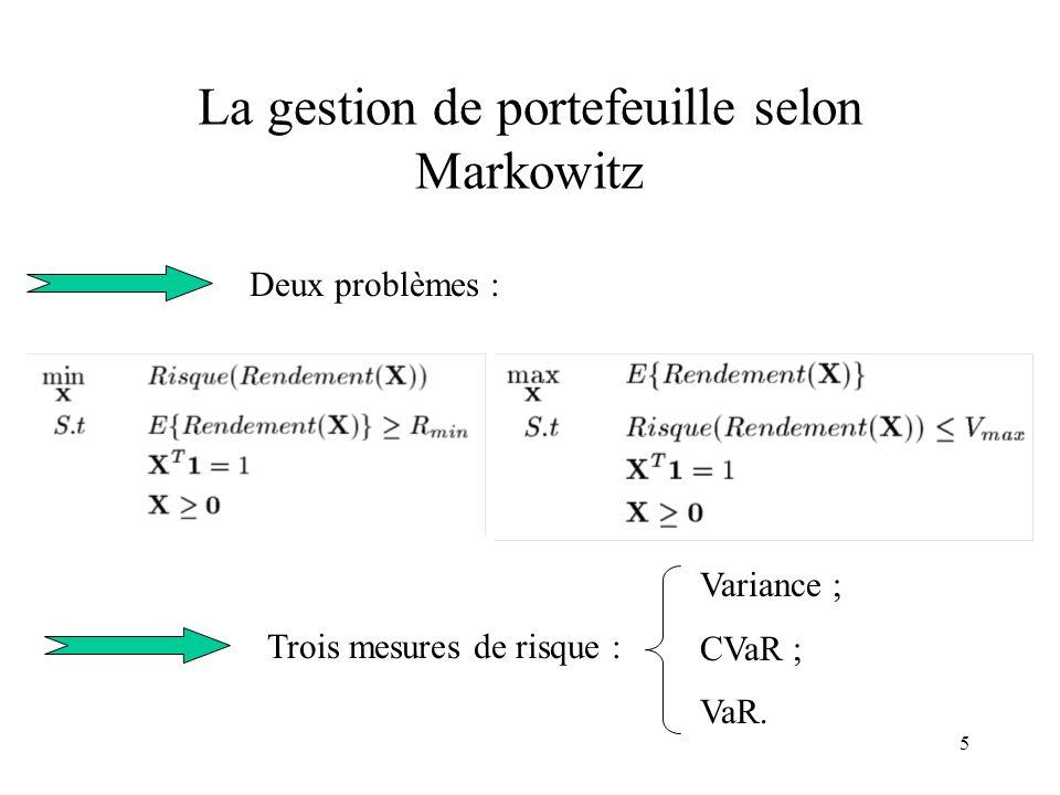 5 La gestion de portefeuille selon Markowitz Deux problèmes : Trois mesures de risque : Variance ; CVaR ; VaR.