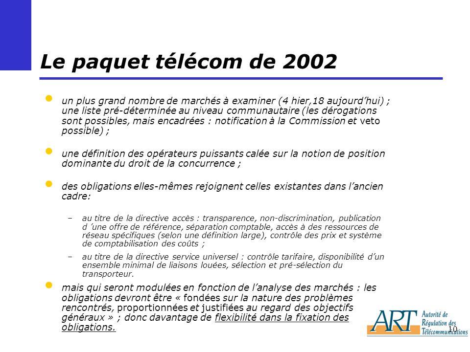 10 Le paquet télécom de 2002 un plus grand nombre de marchés à examiner (4 hier,18 aujourdhui) ; une liste pré-déterminée au niveau communautaire (les