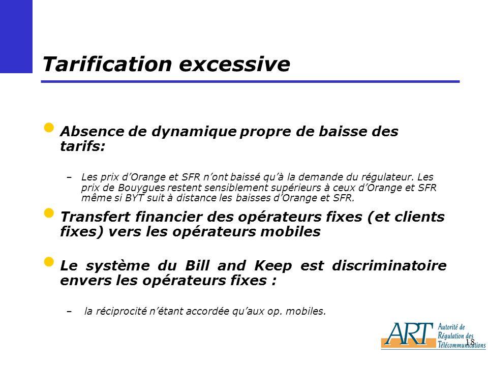 18 Tarification excessive Absence de dynamique propre de baisse des tarifs: –Les prix dOrange et SFR nont baissé quà la demande du régulateur. Les pri