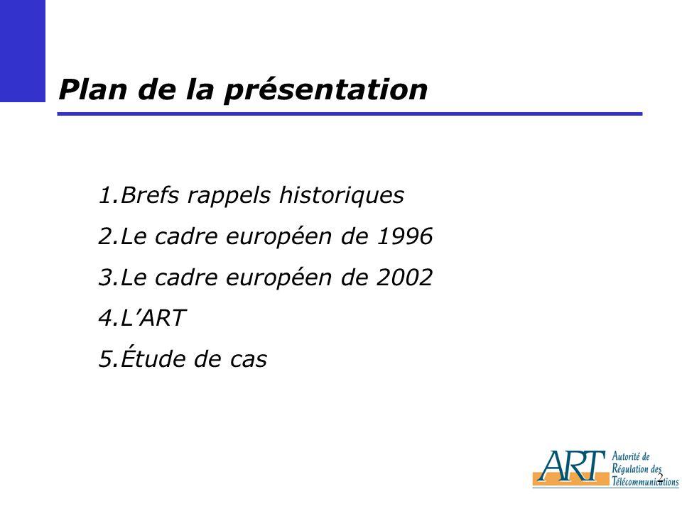 2 Plan de la présentation 1.Brefs rappels historiques 2.Le cadre européen de 1996 3.Le cadre européen de 2002 4.LART 5.Étude de cas