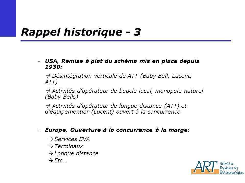 5 Rappel historique - 3 –USA, Remise à plat du schéma mis en place depuis 1930: Désintégration verticale de ATT (Baby Bell, Lucent, ATT) Activités dop