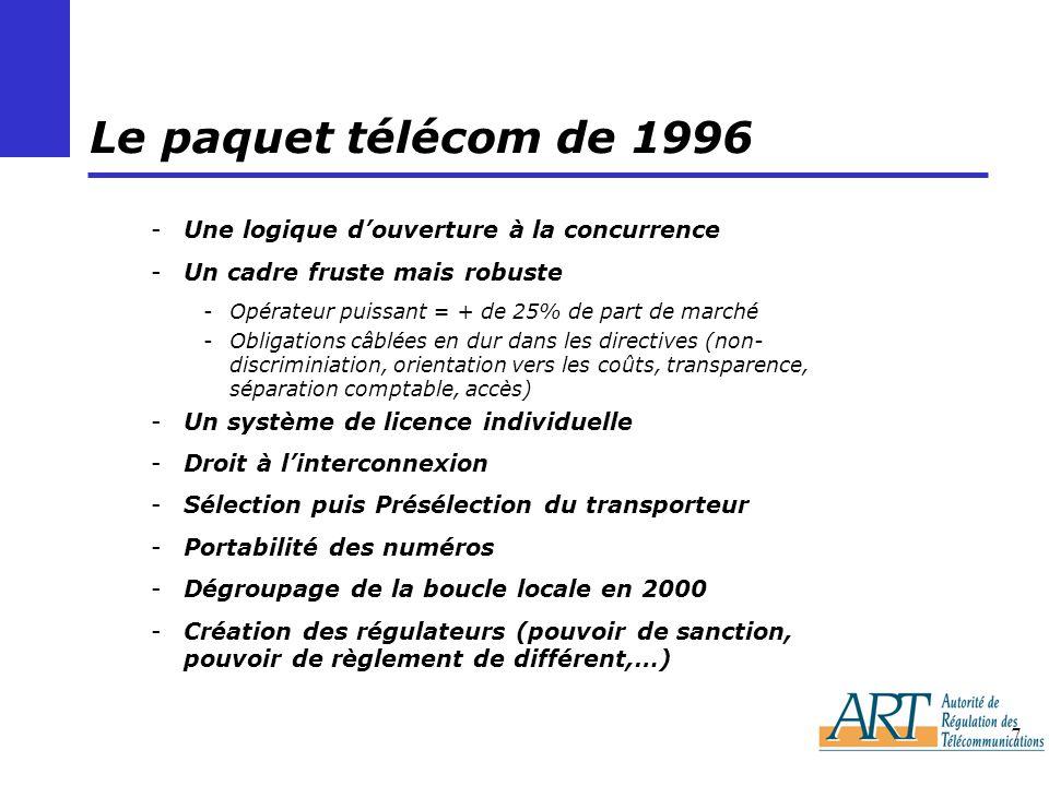 7 Le paquet télécom de 1996 -Une logique douverture à la concurrence -Un cadre fruste mais robuste -Opérateur puissant = + de 25% de part de marché -Obligations câblées en dur dans les directives (non- discriminiation, orientation vers les coûts, transparence, séparation comptable, accès) -Un système de licence individuelle -Droit à linterconnexion -Sélection puis Présélection du transporteur -Portabilité des numéros -Dégroupage de la boucle locale en 2000 -Création des régulateurs (pouvoir de sanction, pouvoir de règlement de différent,…)