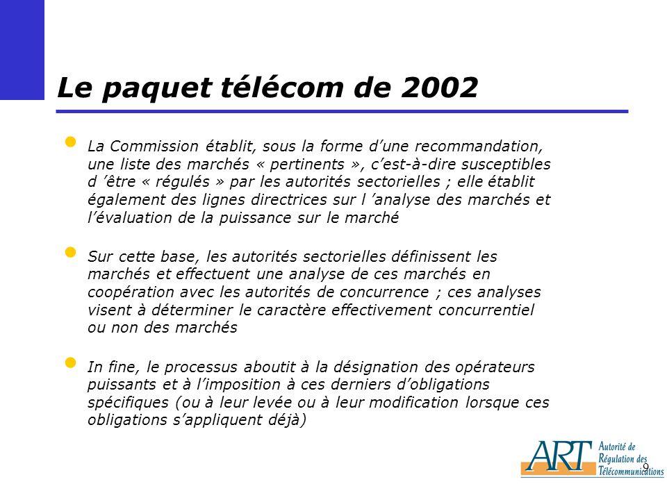9 Le paquet télécom de 2002 La Commission établit, sous la forme dune recommandation, une liste des marchés « pertinents », cest-à-dire susceptibles d