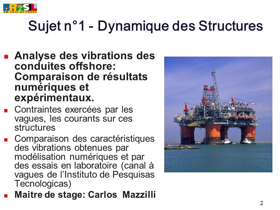 2 Sujet n°1 - Dynamique des Structures Analyse des vibrations des conduites offshore: Comparaison de résultats numériques et expérimentaux. Contrainte