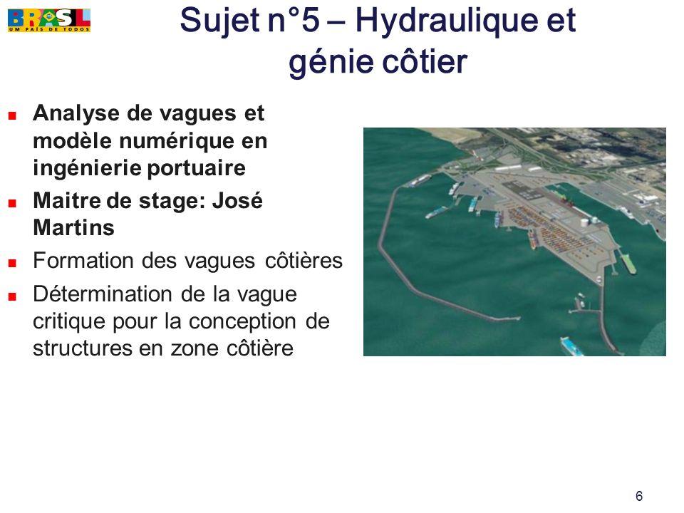 6 Sujet n°5 – Hydraulique et génie côtier Analyse de vagues et modèle numérique en ingénierie portuaire Maitre de stage: José Martins Formation des va