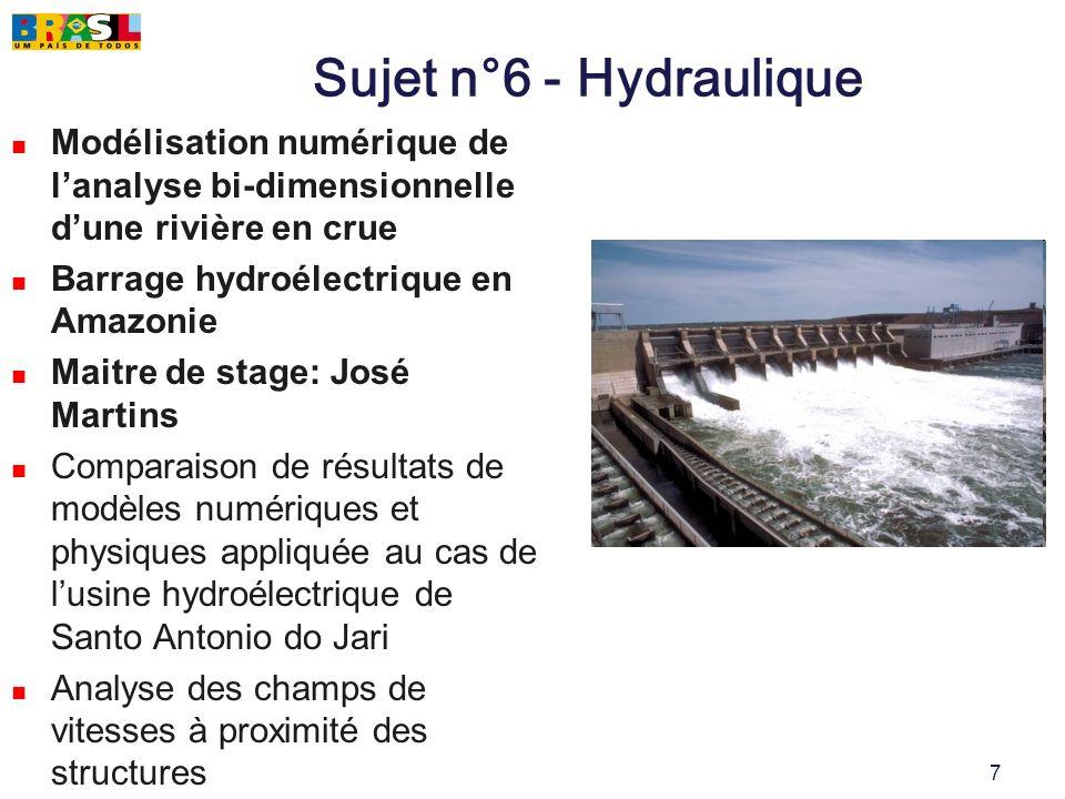 7 Sujet n°6 - Hydraulique Modélisation numérique de lanalyse bi-dimensionnelle dune rivière en crue Barrage hydroélectrique en Amazonie Maitre de stag