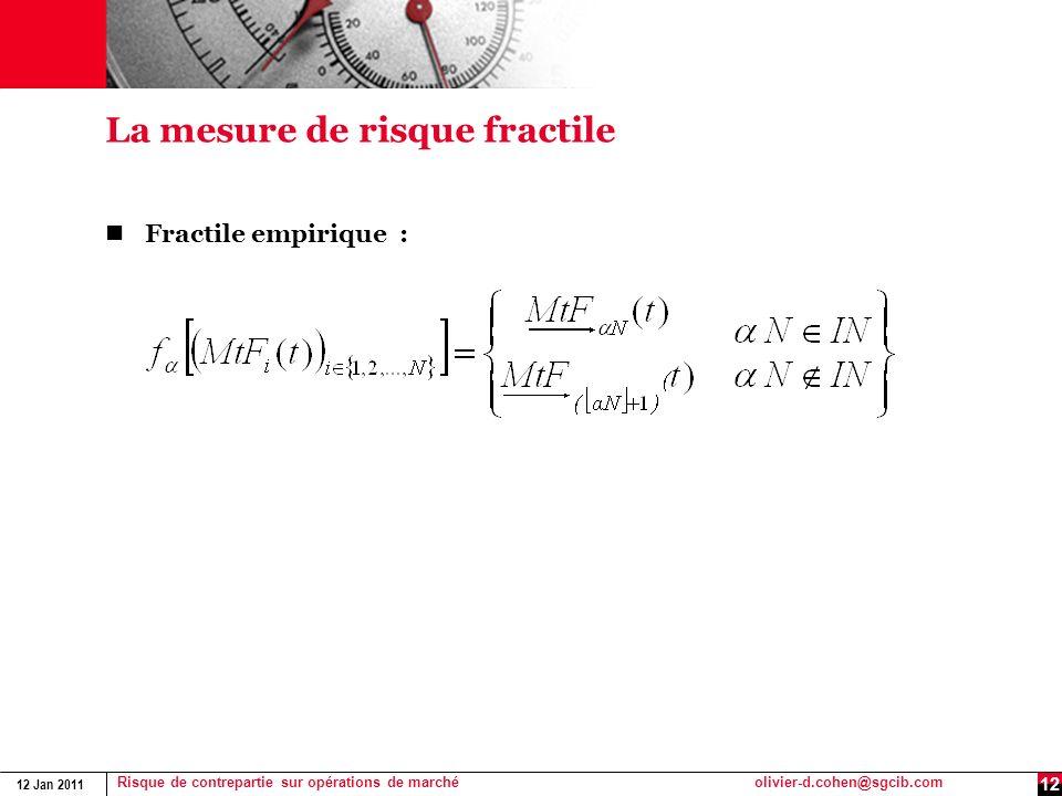 12 Jan 2011 Risque de contrepartie sur opérations de marchéolivier-d.cohen@sgcib.com 12 La mesure de risque fractile Fractile empirique :