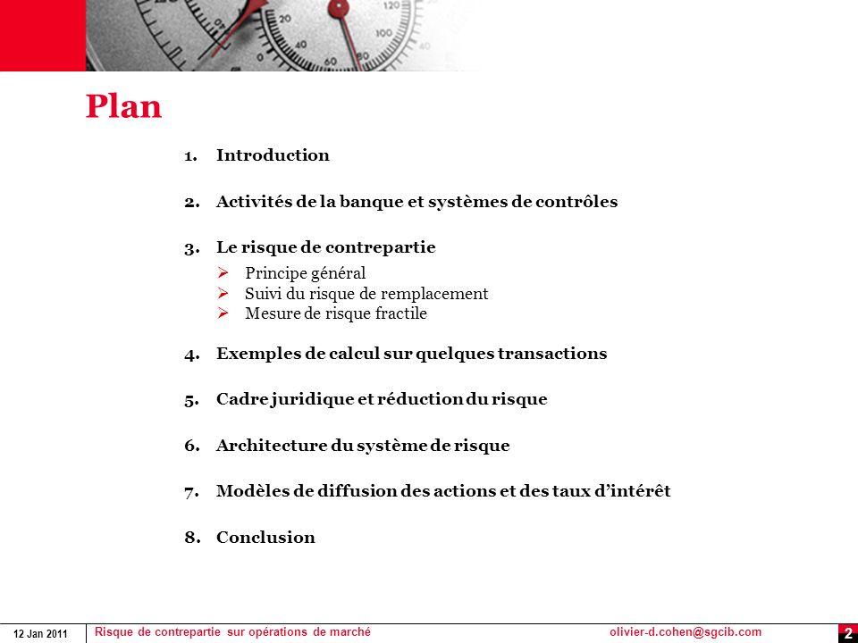 12 Jan 2011 Risque de contrepartie sur opérations de marchéolivier-d.cohen@sgcib.com 2 Plan 1.Introduction 2.Activités de la banque et systèmes de con
