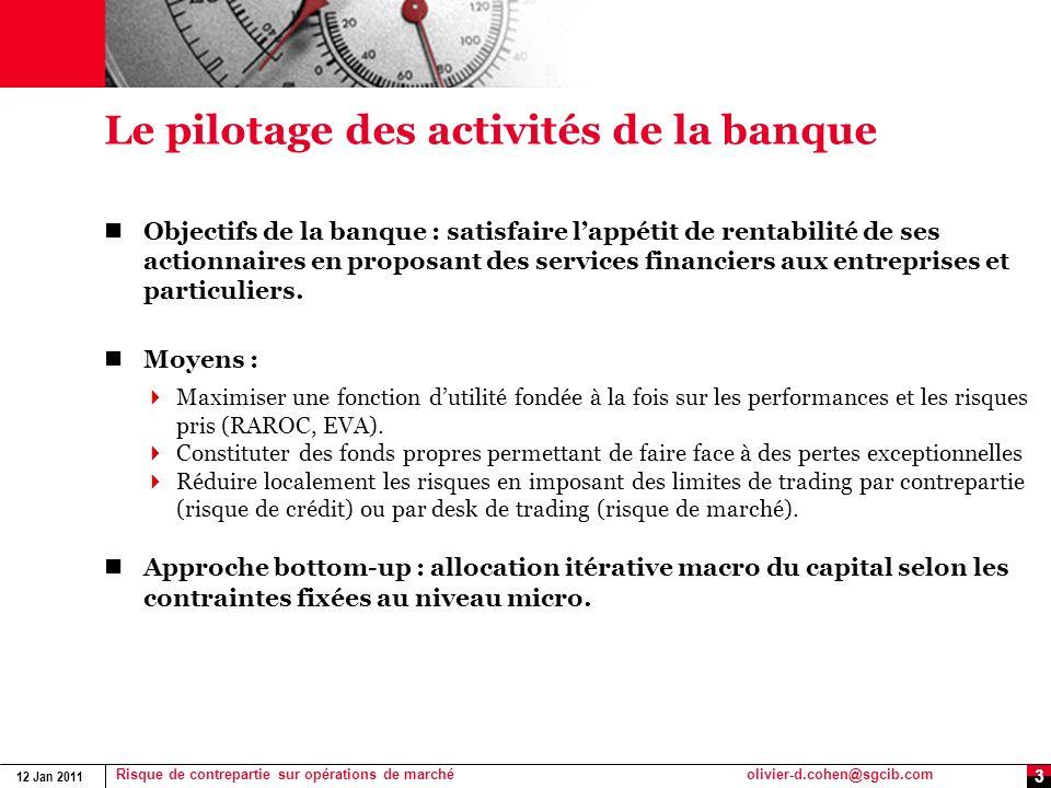 12 Jan 2011 Risque de contrepartie sur opérations de marchéolivier-d.cohen@sgcib.com 3 Le pilotage des activités de la banque Objectifs de la banque :
