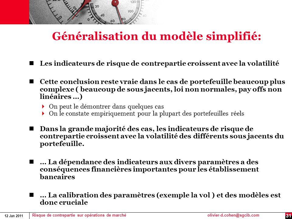 12 Jan 2011 Risque de contrepartie sur opérations de marchéolivier-d.cohen@sgcib.com 31 Généralisation du modèle simplifié: Les indicateurs de risque