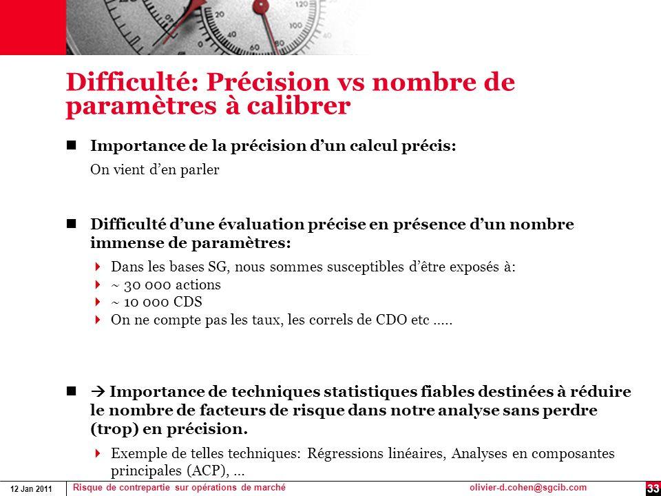 12 Jan 2011 Risque de contrepartie sur opérations de marchéolivier-d.cohen@sgcib.com Difficulté: Précision vs nombre de paramètres à calibrer Importan