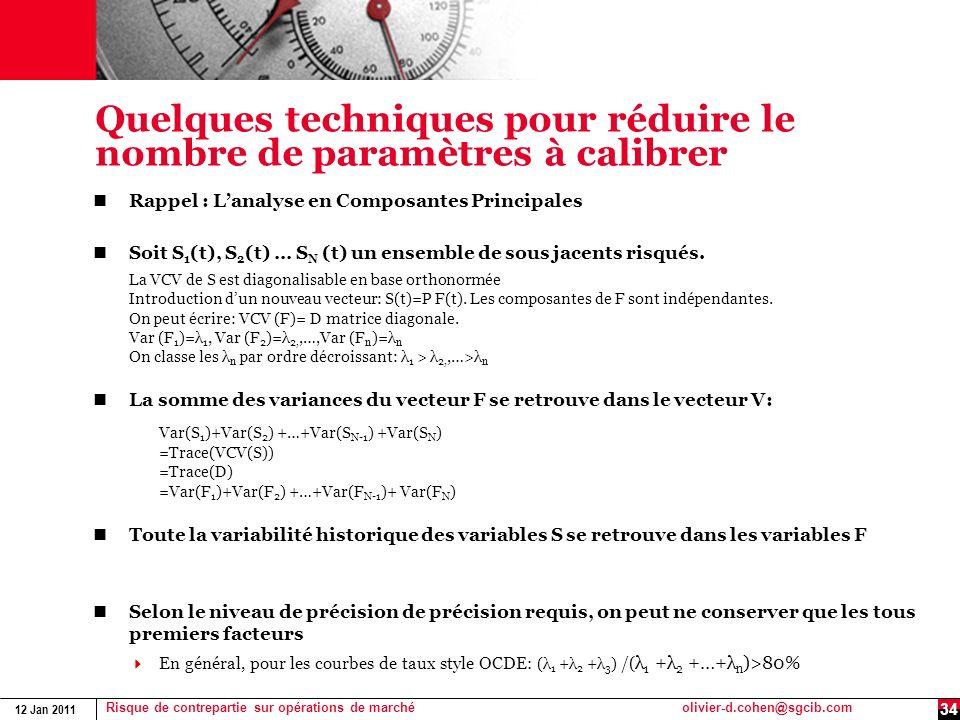 12 Jan 2011 Risque de contrepartie sur opérations de marchéolivier-d.cohen@sgcib.com Quelques techniques pour réduire le nombre de paramètres à calibr