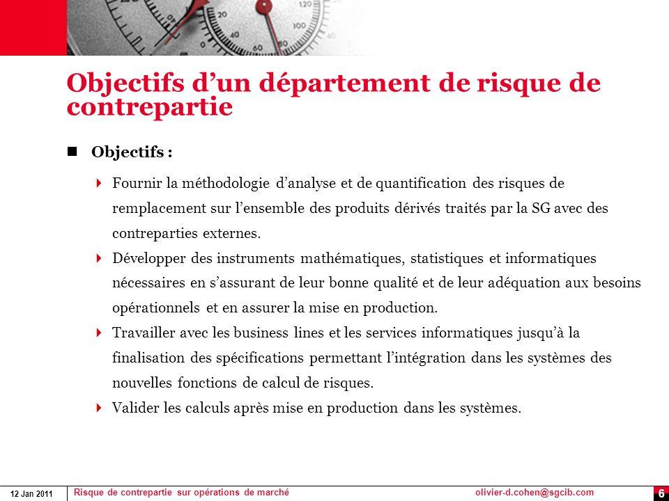 12 Jan 2011 Risque de contrepartie sur opérations de marchéolivier-d.cohen@sgcib.com 6 Objectifs dun département de risque de contrepartie Objectifs :