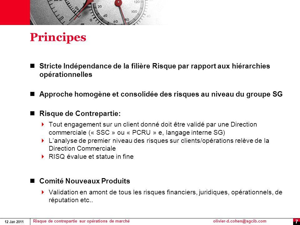 12 Jan 2011 Risque de contrepartie sur opérations de marchéolivier-d.cohen@sgcib.com 8 Suivi du risque de remplacement Son objectif est de contrôler le respect des règles en vigueur par les opérateurs Front Office.