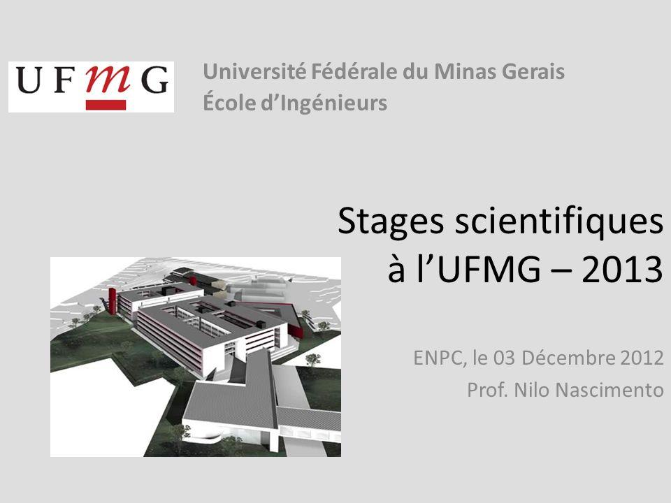 Stages scientifiques à lUFMG – 2013 ENPC, le 03 Décembre 2012 Prof.