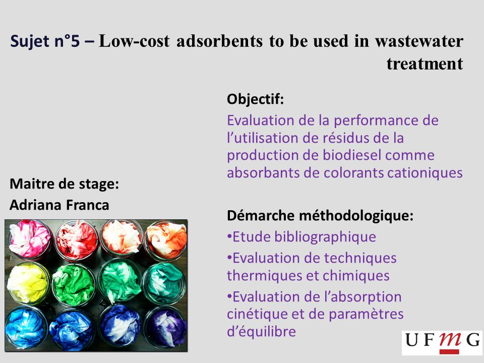Sujet n°5 – Low-cost adsorbents to be used in wastewater treatment Objectif: Evaluation de la performance de lutilisation de résidus de la production