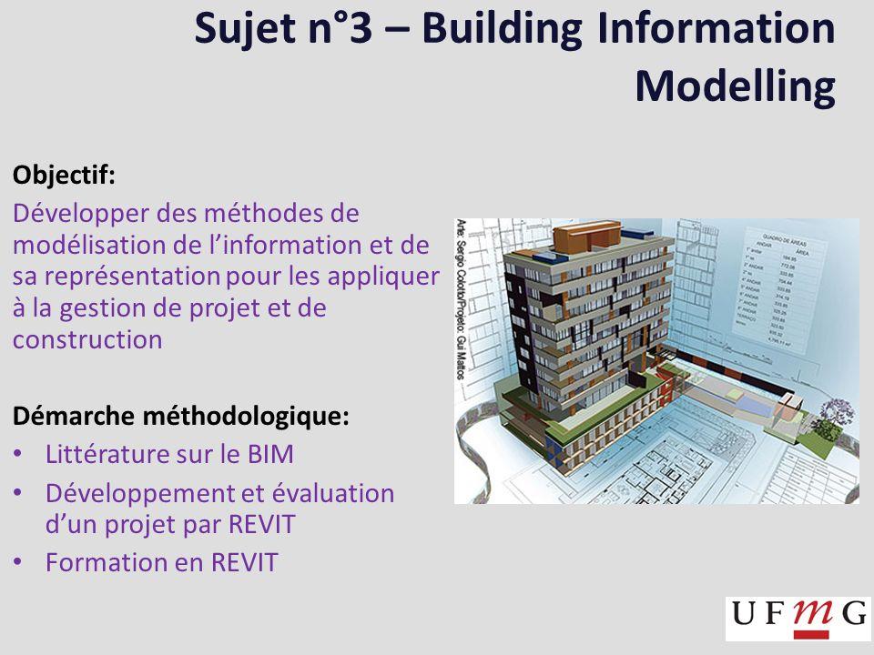 Sujet n°3 – Building Information Modelling Objectif: Développer des méthodes de modélisation de linformation et de sa représentation pour les appliquer à la gestion de projet et de construction Démarche méthodologique: Littérature sur le BIM Développement et évaluation dun projet par REVIT Formation en REVIT