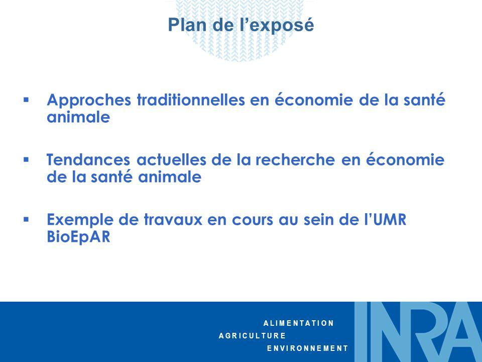 A L I M E N T A T I O N A G R I C U L T U R E E N V I R O N N E M E N T Plan de lexposé Approches traditionnelles en économie de la santé animale Tend