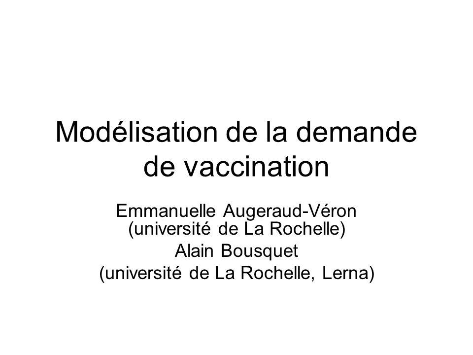 Modélisation de la demande de vaccination Emmanuelle Augeraud-Véron (université de La Rochelle) Alain Bousquet (université de La Rochelle, Lerna)