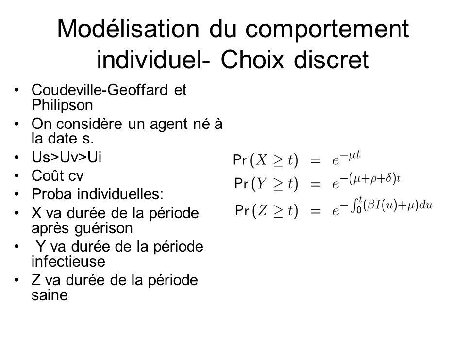 Modélisation du comportement individuel- Choix discret Coudeville-Geoffard et Philipson On considère un agent né à la date s. Us>Uv>Ui Coût cv Proba i