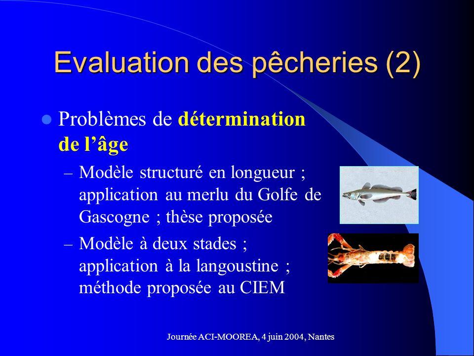 Journée ACI-MOOREA, 4 juin 2004, Nantes Evaluation des pêcheries (2) Problèmes de détermination de lâge – Modèle structuré en longueur ; application au merlu du Golfe de Gascogne ; thèse proposée – Modèle à deux stades ; application à la langoustine ; méthode proposée au CIEM