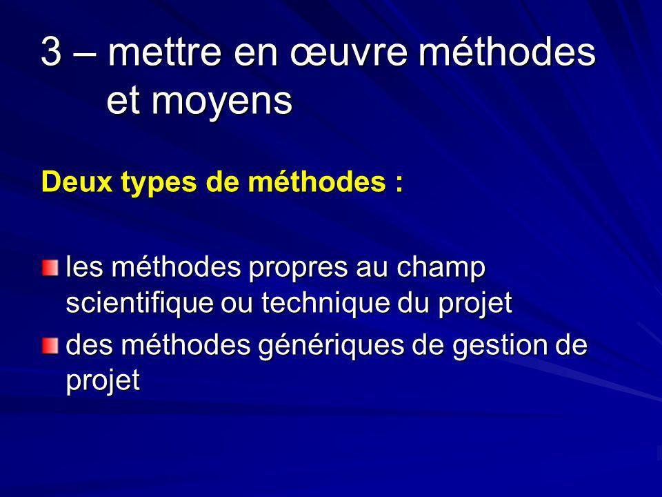 3 – mettre en œuvre méthodes et moyens Deux types de méthodes : les méthodes propres au champ scientifique ou technique du projet des méthodes génériques de gestion de projet