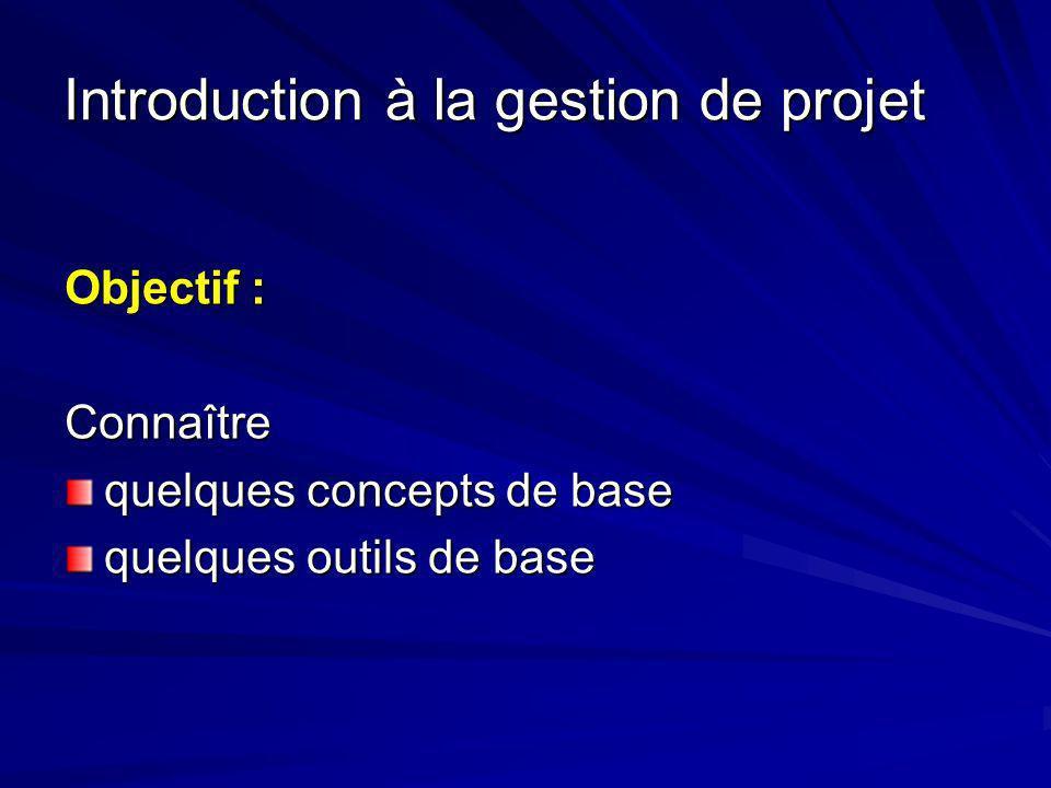 Introduction à la gestion de projet Objectif : Connaître quelques concepts de base quelques outils de base