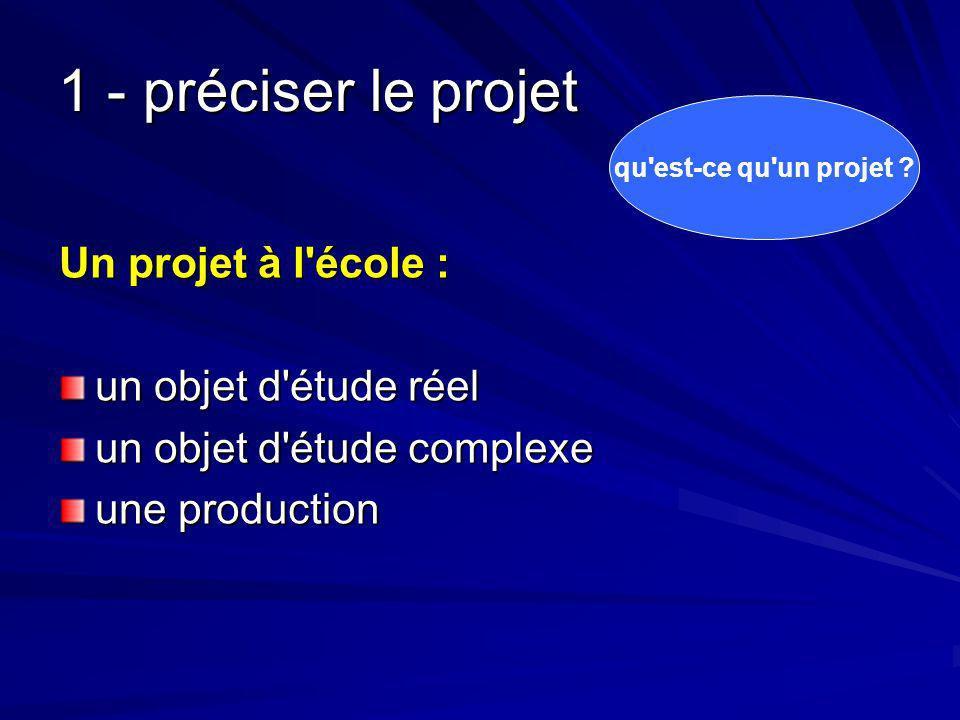 1 - préciser le projet Un projet à l école : un objet d étude réel un objet d étude complexe une production qu est-ce qu un projet ?